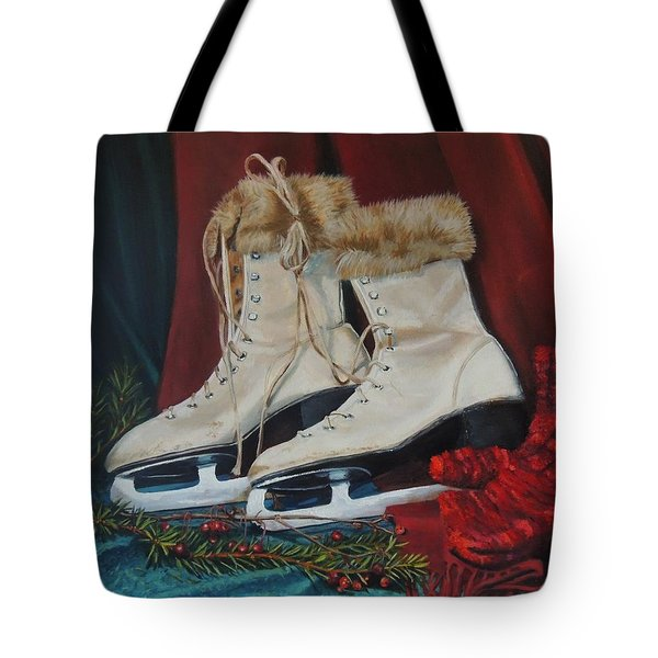 Ice Skates And Mittens Tote Bag by Patty Kay Hall