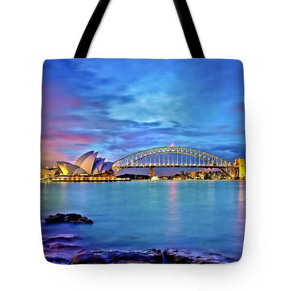Icons Of Sydney Harbour Tote Bag by Az Jackson