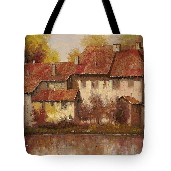 Il Borgo Rosso Tote Bag by Guido Borelli