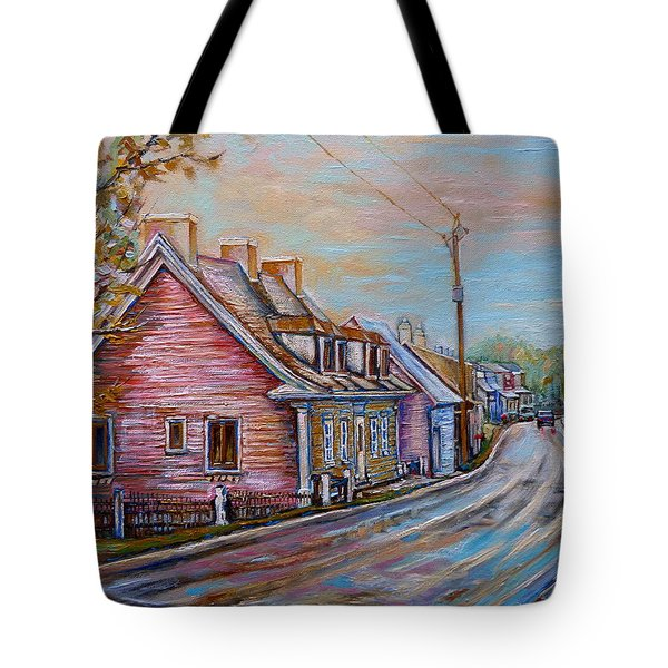 Iles D'orleans Quebec Village Scene Tote Bag by Carole Spandau