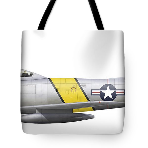 Illustration Of A North American F-86f Tote Bag by Chris Sandham-Bailey
