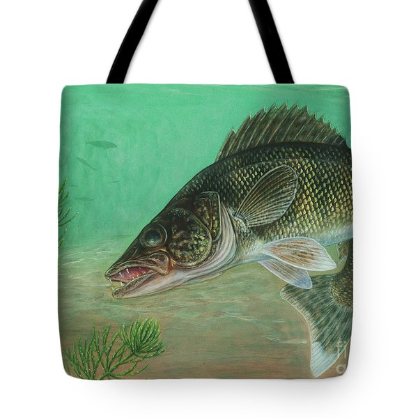 Illustration Of A Walleye Swimming Tote Bag by Carlyn Iverson