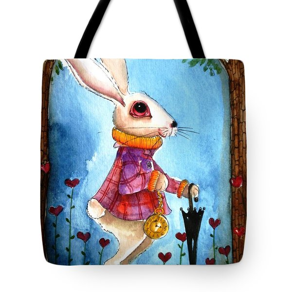 I'm Late Tote Bag by Lucia Stewart
