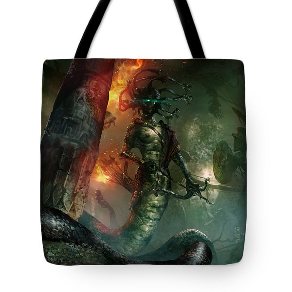 In The Lair Of The Gorgon Tote Bag by Ryan Barger