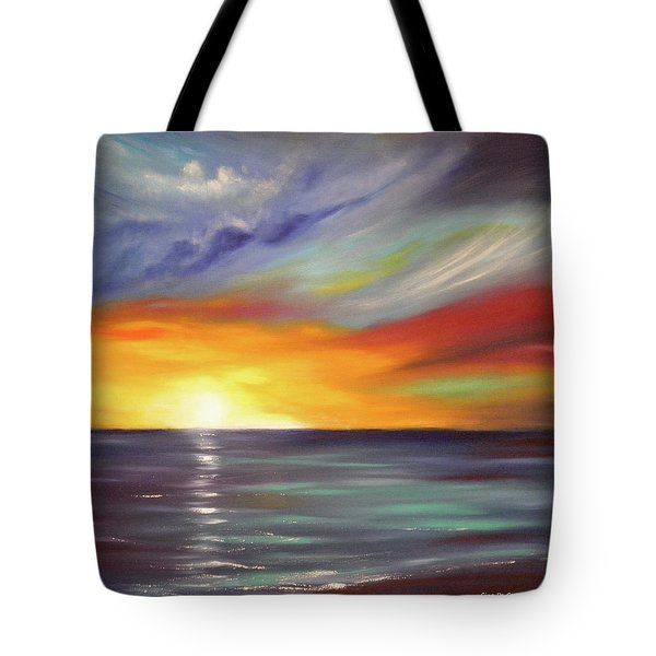 In the Moment Square Sunset Tote Bag by Gina De Gorna