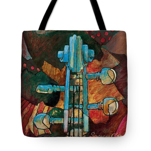 In Tune - String Instrument Scroll In Blue Tote Bag by Susanne Clark