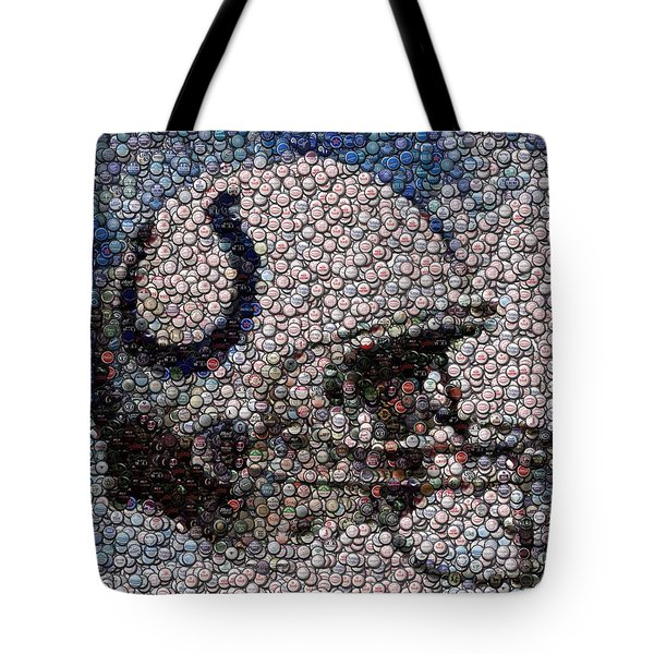 Indianapolis Colts Bottle Cap Mosaic Tote Bag by Paul Van Scott