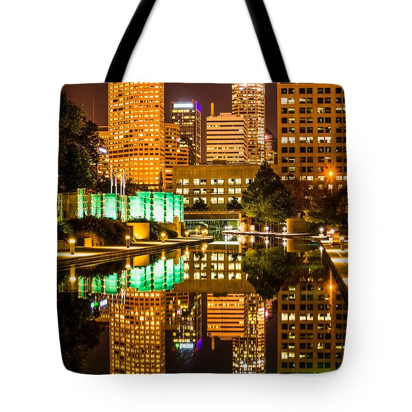 Indianapolis Skyline At Night Canal Reflection Picture Tote Bag by Paul Velgos