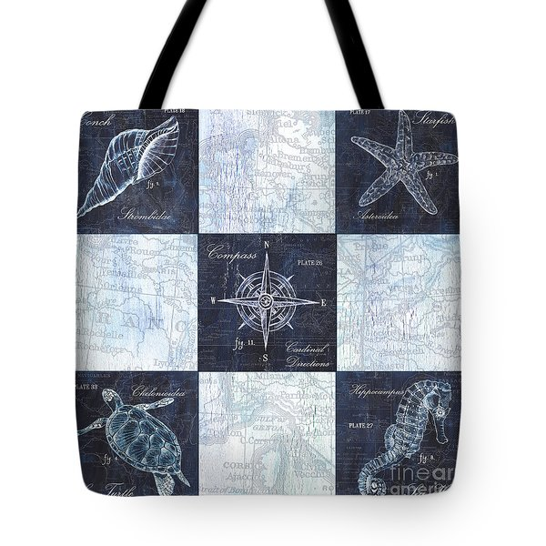Indigo Nautical Collage Tote Bag by Debbie DeWitt