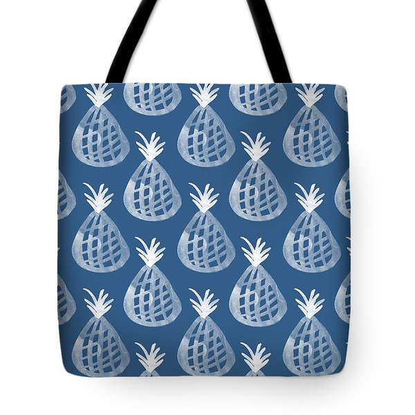 Indigo Pineapple Party Tote Bag by Linda Woods