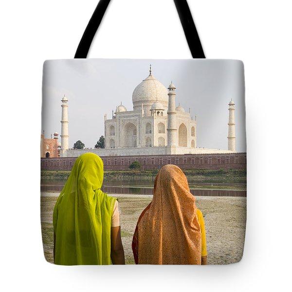 indu women at the Taj Mahal Tote Bag by Bill Bachmann - Printscapes