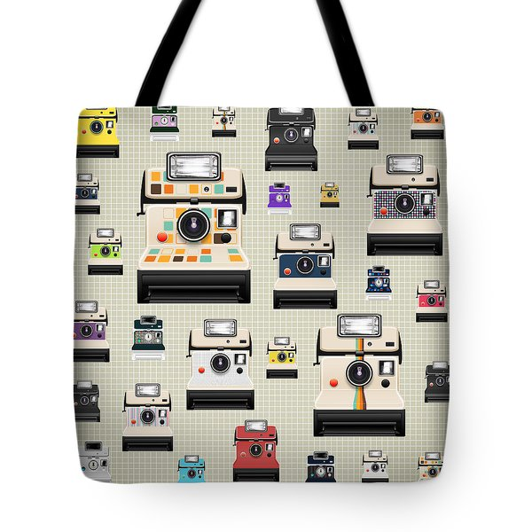 Instant Camera Pattern Tote Bag by Setsiri Silapasuwanchai