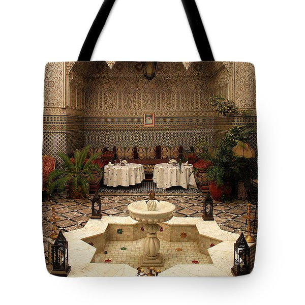 Interior Of A Traditional Riad In Fez Tote Bag by Ralph A  Ledergerber-Photography
