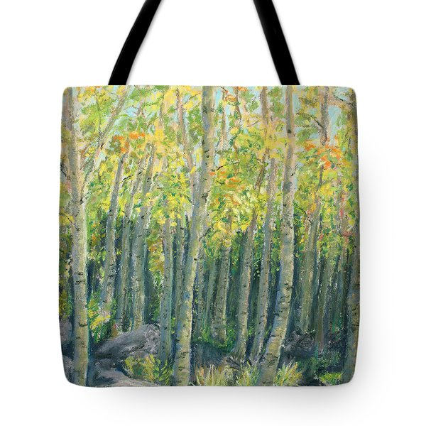 Into The Aspens Tote Bag by Mary Benke