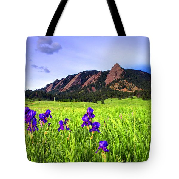Iris and Flatirons Tote Bag by Scott Mahon