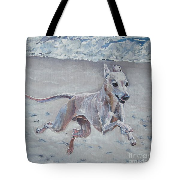 Italian Greyhound On The Beach Tote Bag by Lee Ann Shepard