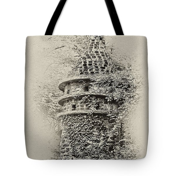 Ivy Covered Castle In The Woods Tote Bag by Bill Cannon