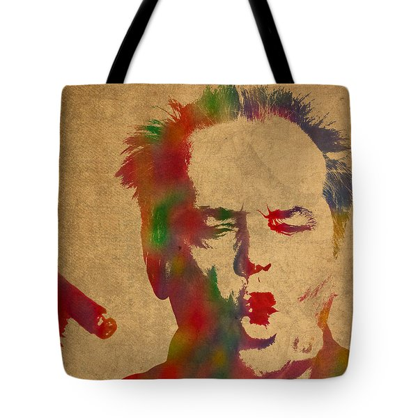 Jack Nicholson Smoking A Cigar Blowing Smoke Ring Watercolor Portrait On Old Canvas Tote Bag by Design Turnpike