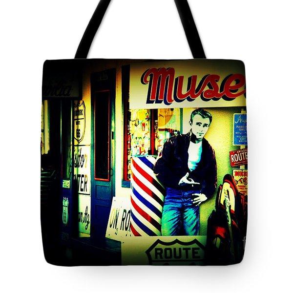James Dean on Route 66 Tote Bag by Susanne Van Hulst