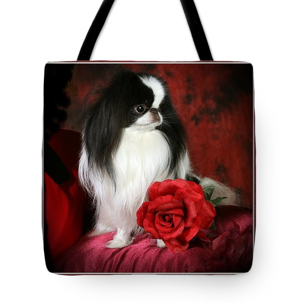 Japanese Chin And Rose Tote Bag by Kathleen Sepulveda