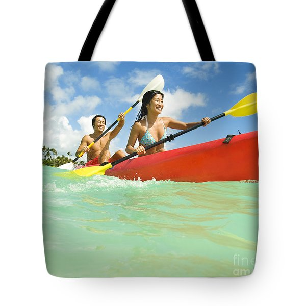 Japanese Couple Kayaking Tote Bag by Dana Edmunds - Printscapes