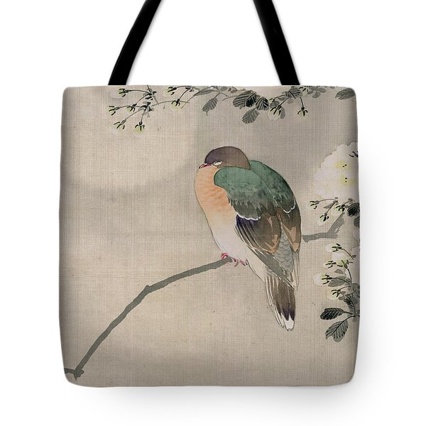 Japanese Silk Painting Of A Wood Pigeon Tote Bag by Japanese School