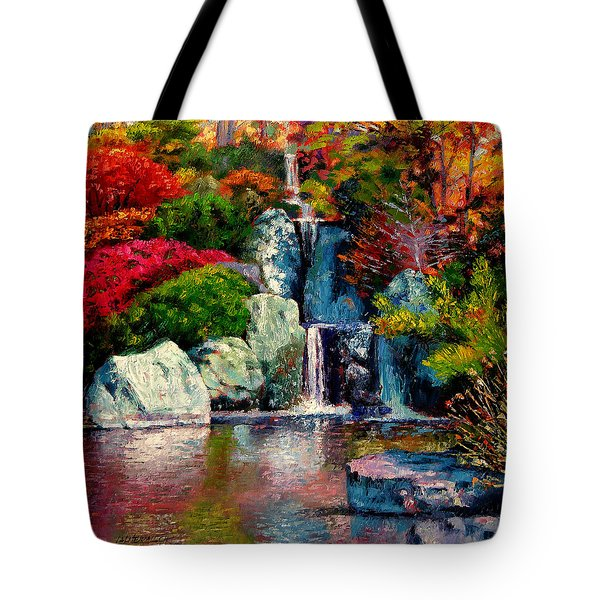 Japanese Waterfall Tote Bag by John Lautermilch