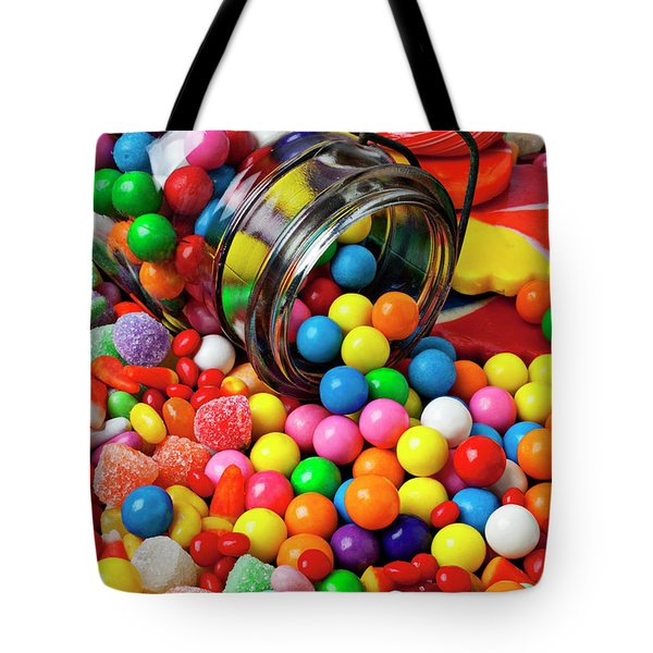 Jar Spilling Bubblegum With Candy Tote Bag by Garry Gay