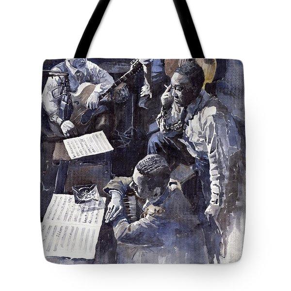 Jazz Parker Tristano Bauer Safransky Rca Studio Ny 1949 Tote Bag by Yuriy  Shevchuk