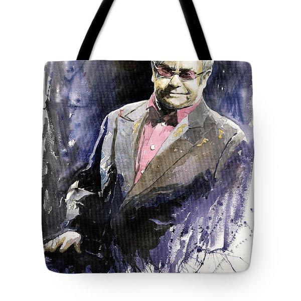 Jazz Sir Elton John Tote Bag by Yuriy  Shevchuk