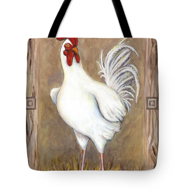 Jed The Rooster Tote Bag by Linda Mears
