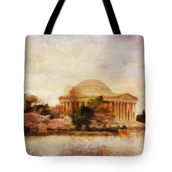 Jefferson Memorial Just Past Dawn Tote Bag by Lois Bryan