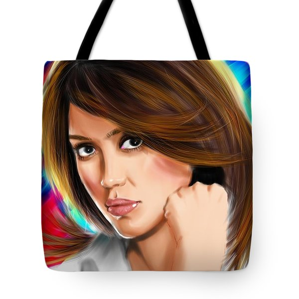 Jessica Alba Tote Bag by Isaac Martinez