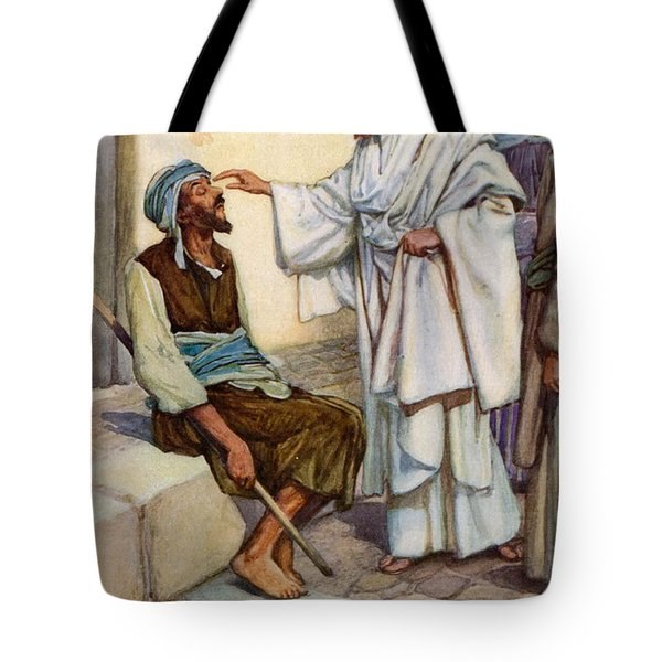 Jesus And The Blind Man Tote Bag by Arthur A Dixon