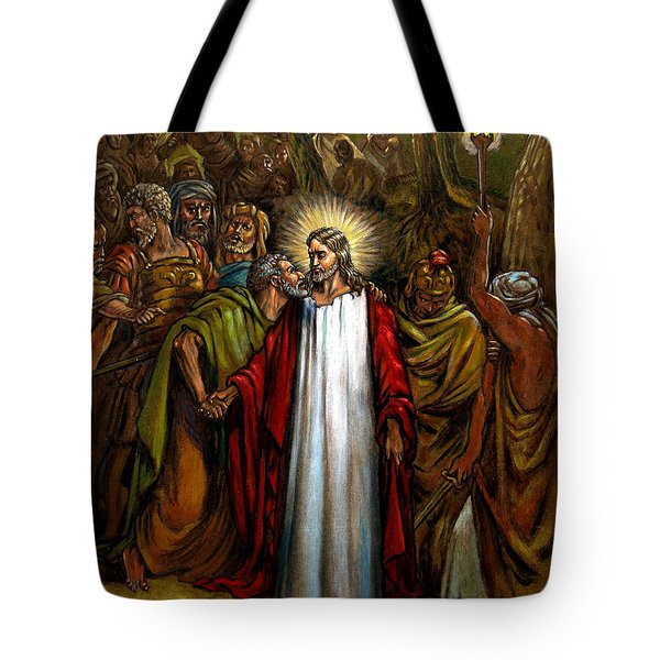 Jesus Betrayed Tote Bag by John Lautermilch