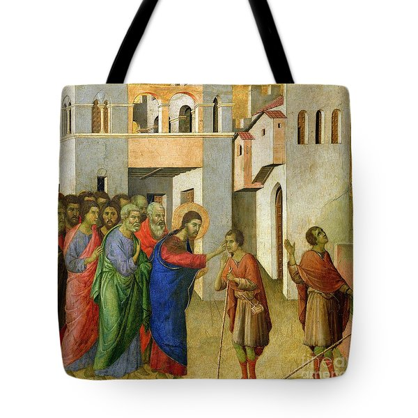 Jesus Opens The Eyes Of A Man Born Blind Tote Bag by Duccio di Buoninsegna