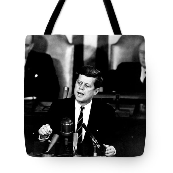 JFK Announces Moon Landing Mission Tote Bag by War Is Hell Store