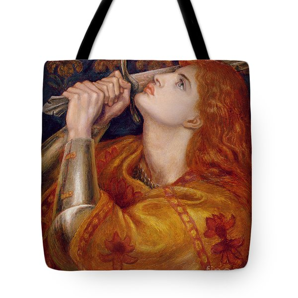 Joan Of Arc Tote Bag by Dante Charles Gabriel Rossetti