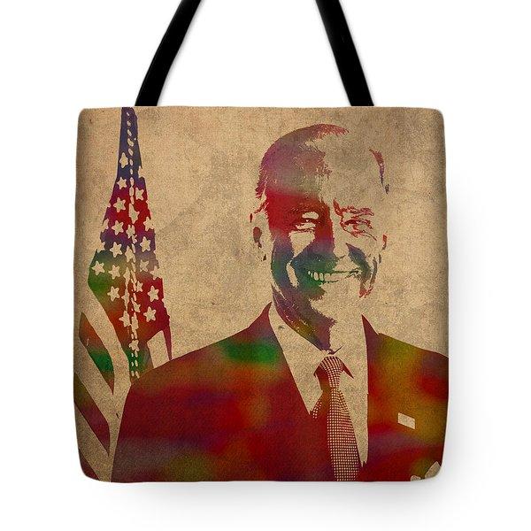 Joe Biden Watercolor Portrait Tote Bag by Design Turnpike