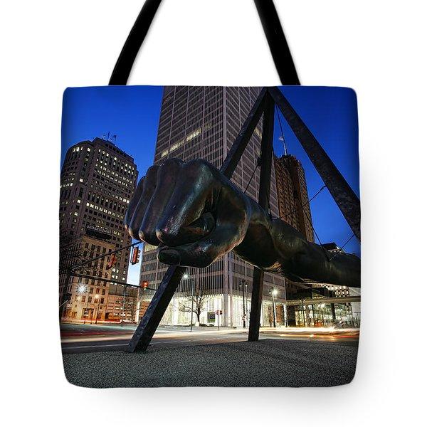 Joe Louis Fist Statue Jefferson and Woodward Ave. Detroit Michigan Tote Bag by Gordon Dean II