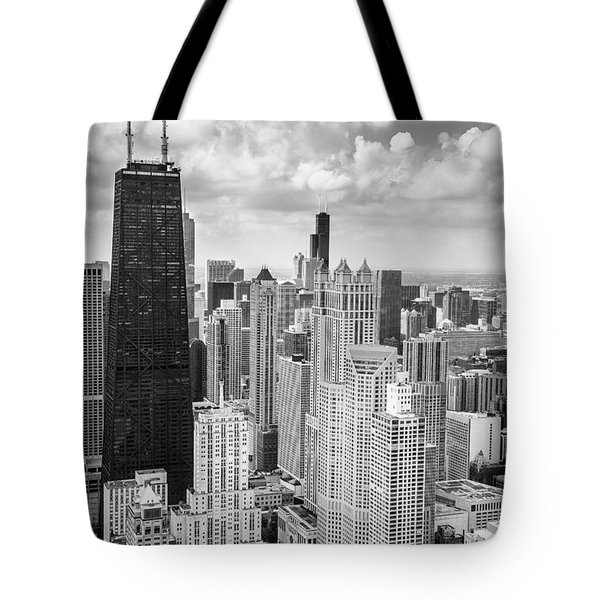 John Hancock Building In The Gold Coast Black And White Tote Bag by Adam Romanowicz