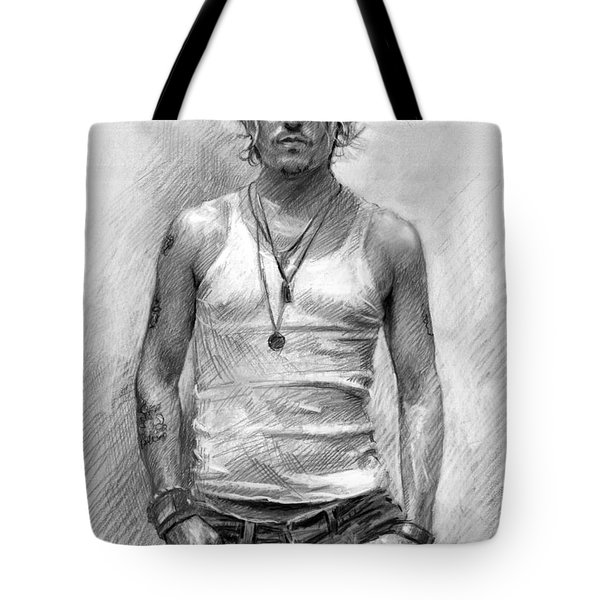 Johny Depp Tote Bag by Ylli Haruni