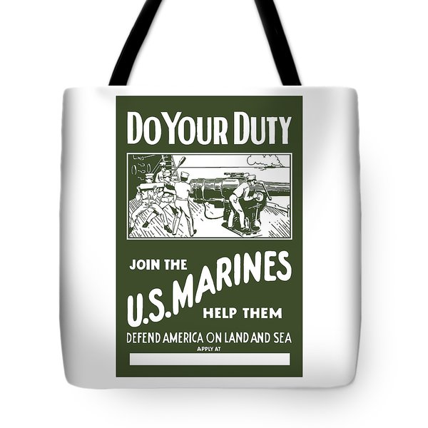 Join The US Marines Tote Bag by War Is Hell Store