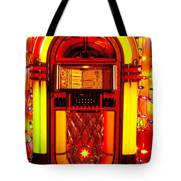 Juke box with Christmas lights Tote Bag by Garry Gay