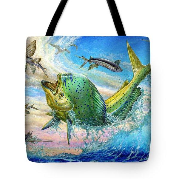 Jumping Mahi Mahi And Flyingfish Tote Bag by Terry Fox