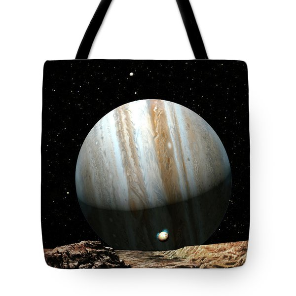 Jupiter Seen From Europa Tote Bag by Don Dixon