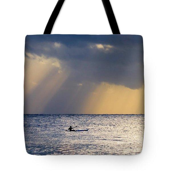 Kayak At Dawn Tote Bag by Mike  Dawson