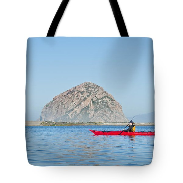Kayaker In Morro Bay Tote Bag by Bill Brennan - Printscapes