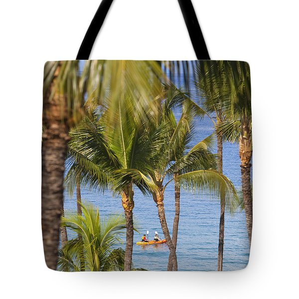 Kayakers Through Palms Tote Bag by Ron Dahlquist - Printscapes