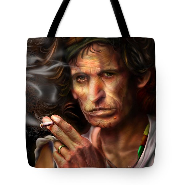 Keith Richards1-burning Lights 4 Tote Bag by Reggie Duffie